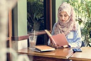 Islamic woman reading book